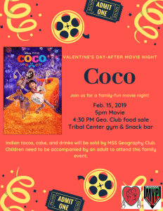 Movie Screening: Coco @ Tribal Center Snack Bar & Gym