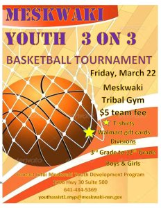 Meskwaki Youth 3-on-3 Basketball Tournament @ Meskwaki Tribal Center - Gym