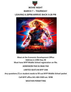 MYP Movie Night, Captain Marvel @ Meskwaki Youth Program