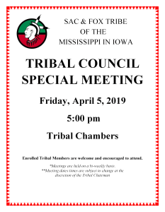 Tribal Council Special Meeting @ Meskwaki Tribal Center - Chambers