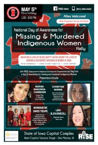 National Day of Awareness for MMIW Rally @ State of Iowa Capital Complex - West Capitol Terrace Stage