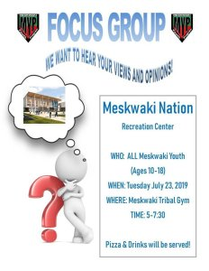 Youth Focus Group Discussion @ Meskwaki Tribal Center Gym