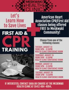 American Heart Association CPR/First Aid classes to be offered
