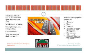 Public Safety Message on Extreme Heat