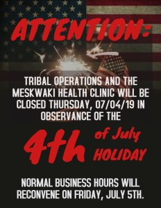 Tribal Operations & Health Clinic Closed Thursday, July 4th