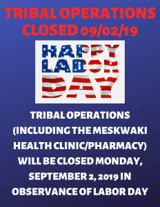 Tribal Operations & MSS School Closed - LABOR DAY