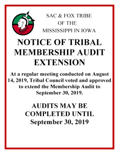 Tribal Membership Audit @ Meskwaki Tribal Center