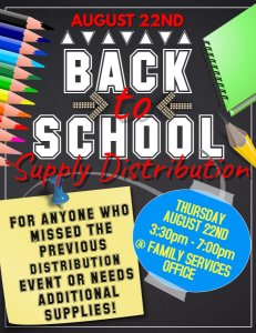 Back to School Supply Distribution @ Meskwaki Family Services