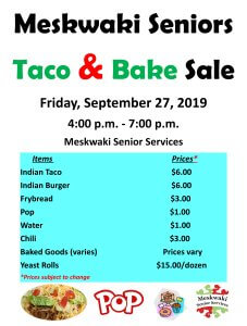 Taco/Bake Sale @ Meskwaki Senior Services