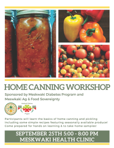 Home Canning Workshop @ Meskwaki Health Clinic