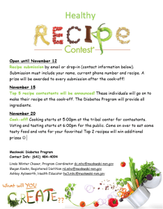 Healthy Recipe Contest Cook-Off @ Tribal Center Kitchen