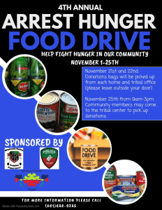 4th Annual Arrest Hunger Food Drive Pick-Up @ Tribal Center