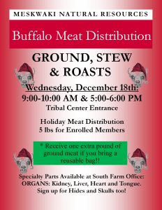 CANCELED: Holiday Buffalo Meat Distribution @ Tribal Center Entrance
