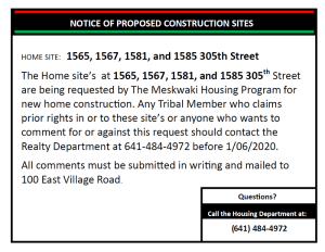 Housing 30-Day Comment Period Notice