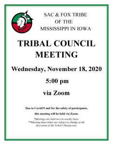 Tribal Council Meeting to be held on Wed., November 18
