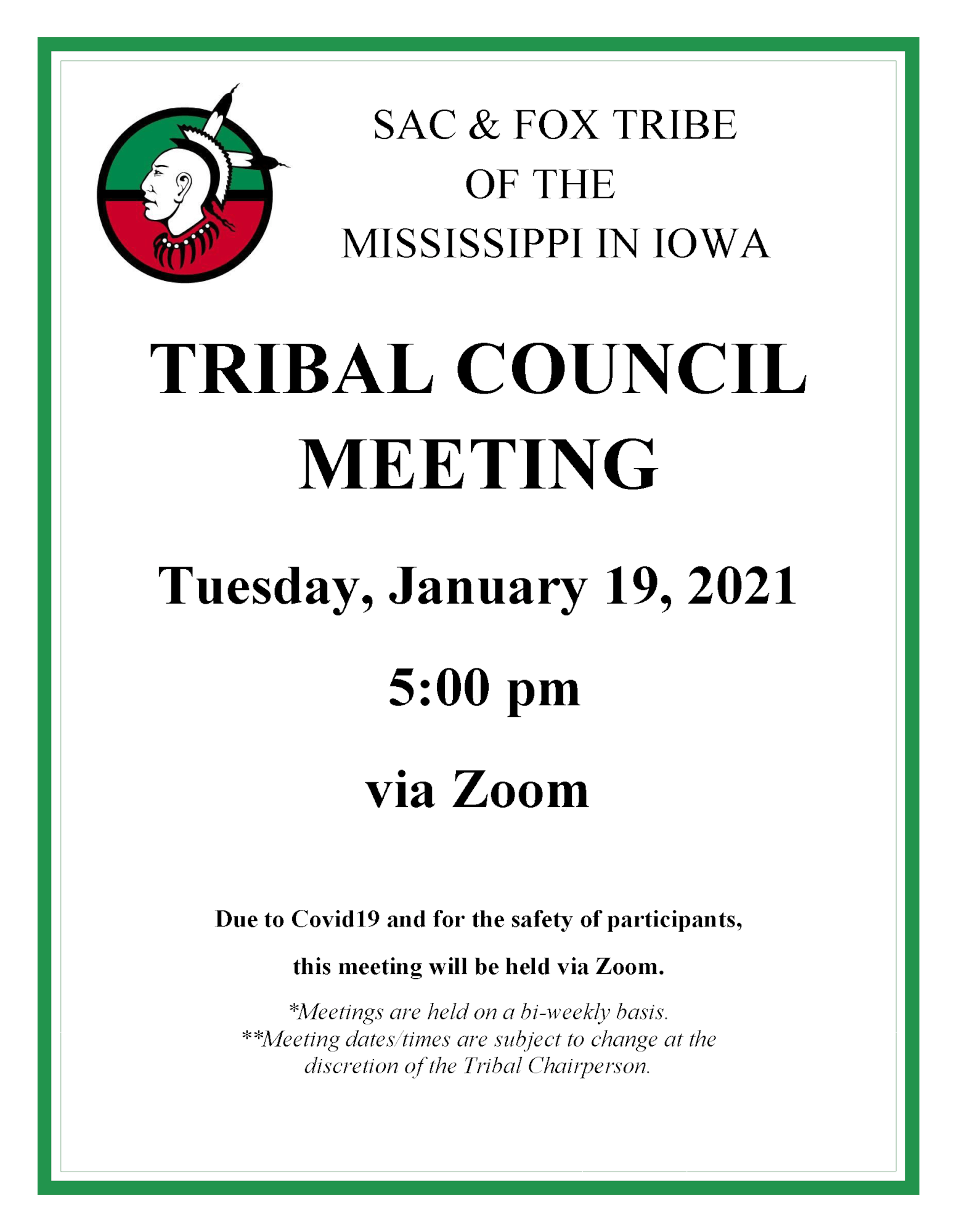 Notification of the January 19, 2021 Tribal Council Meeting