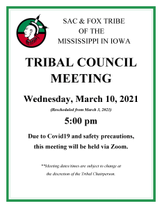 Tribal Council Meeting Moved to 03/10/2021