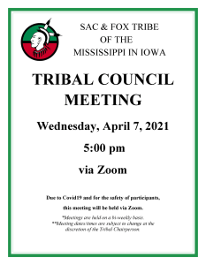 Tribal Council Meeting Scheduled April 7, 2021