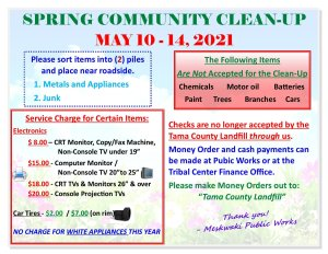 Meskwaki Community Spring Clean-Up @ Meskwaki Settlement