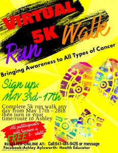 Virtual 5K Walk/Run to Bring Awareness to All Types of Cancer @ You determine your route