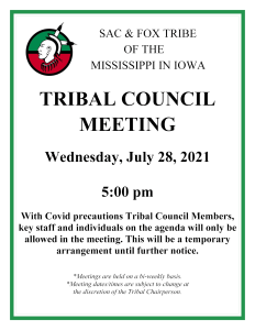 Tribal Council Meeting - Canceled @ Tribal Chambers