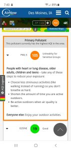 Air Quality Unhealth For Sensitive Groups (ORANGE) Today (7/30)